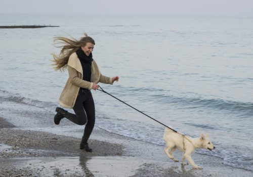 Woman running along beach with dog