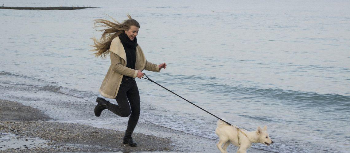 Woman running along beach with dog